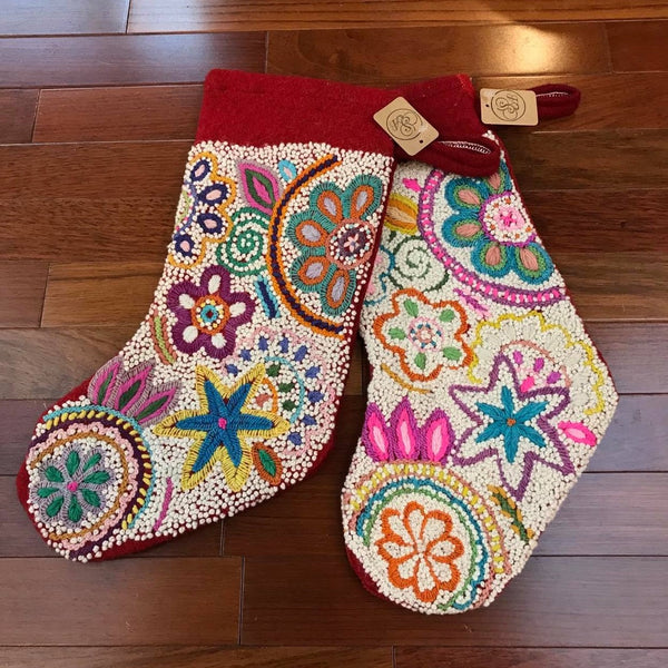 Hand Embroidered Christmas Stocking