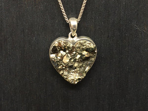 Pyrite Heart Necklace and Earring Set