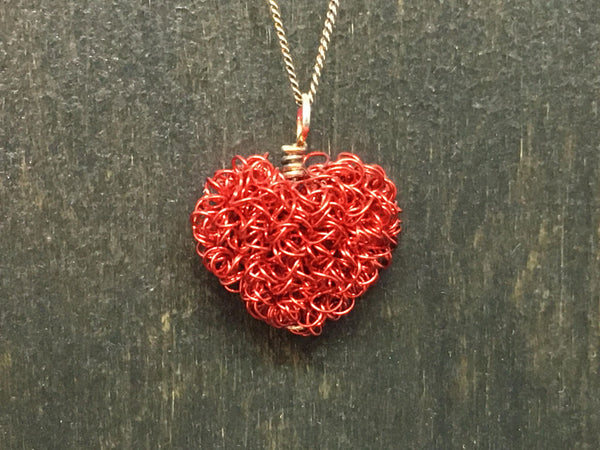 Enameled Copper Heart Pendant Necklace