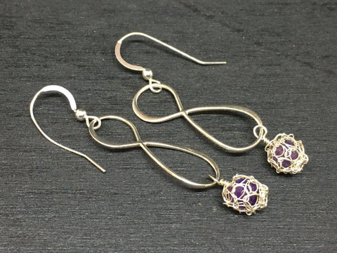 Infinity Sterling Wire Crochet Bead Earrings