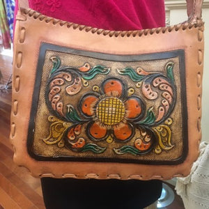 Tooled Leather Crossbody Bag