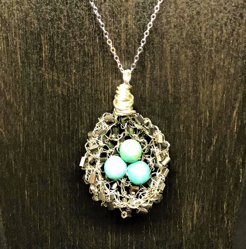 Magnesite Bugle Bead Bird Nest Necklace