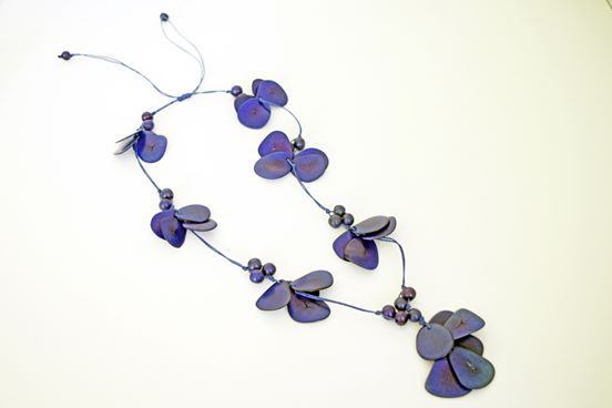 Deep Blue Tagua Y-Neck Necklace