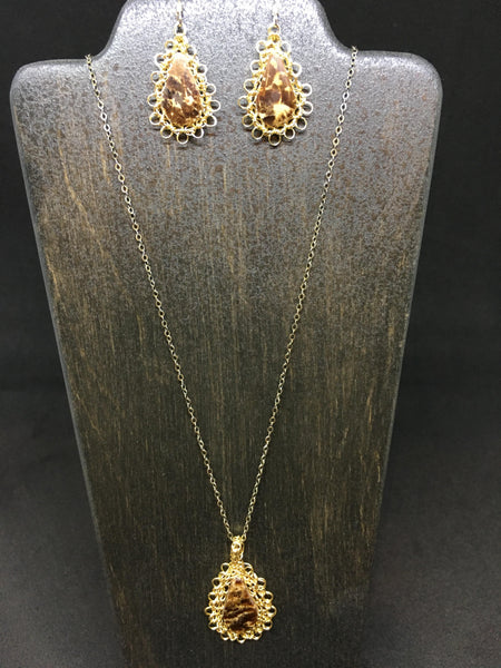 Leopard Necklace and Earring Set