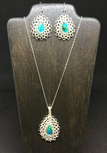 Chrysocolla Necklace and Earring Set