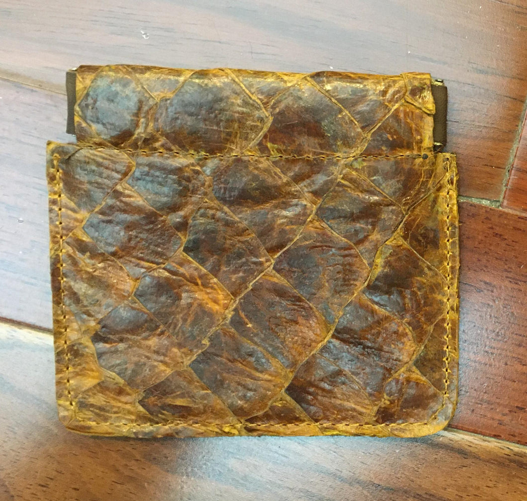 Genuine Arapaima Fish Leather and Cowhide Coin Pouch