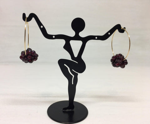 Gold-Filled Garnet Loop Earrings