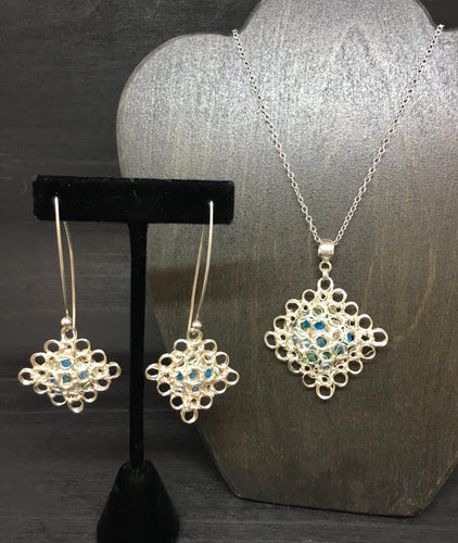 Wire Crocheted Swarovski Necklace and Earring Set