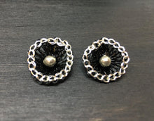 Load image into Gallery viewer, Shasta Sterling Flower Stud Wire Crochet Earrings