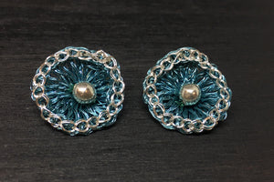 Shasta Sterling Flower Stud Wire Crochet Earrings
