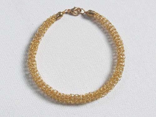 Hand Crocheted Gold Stackable Bracelet