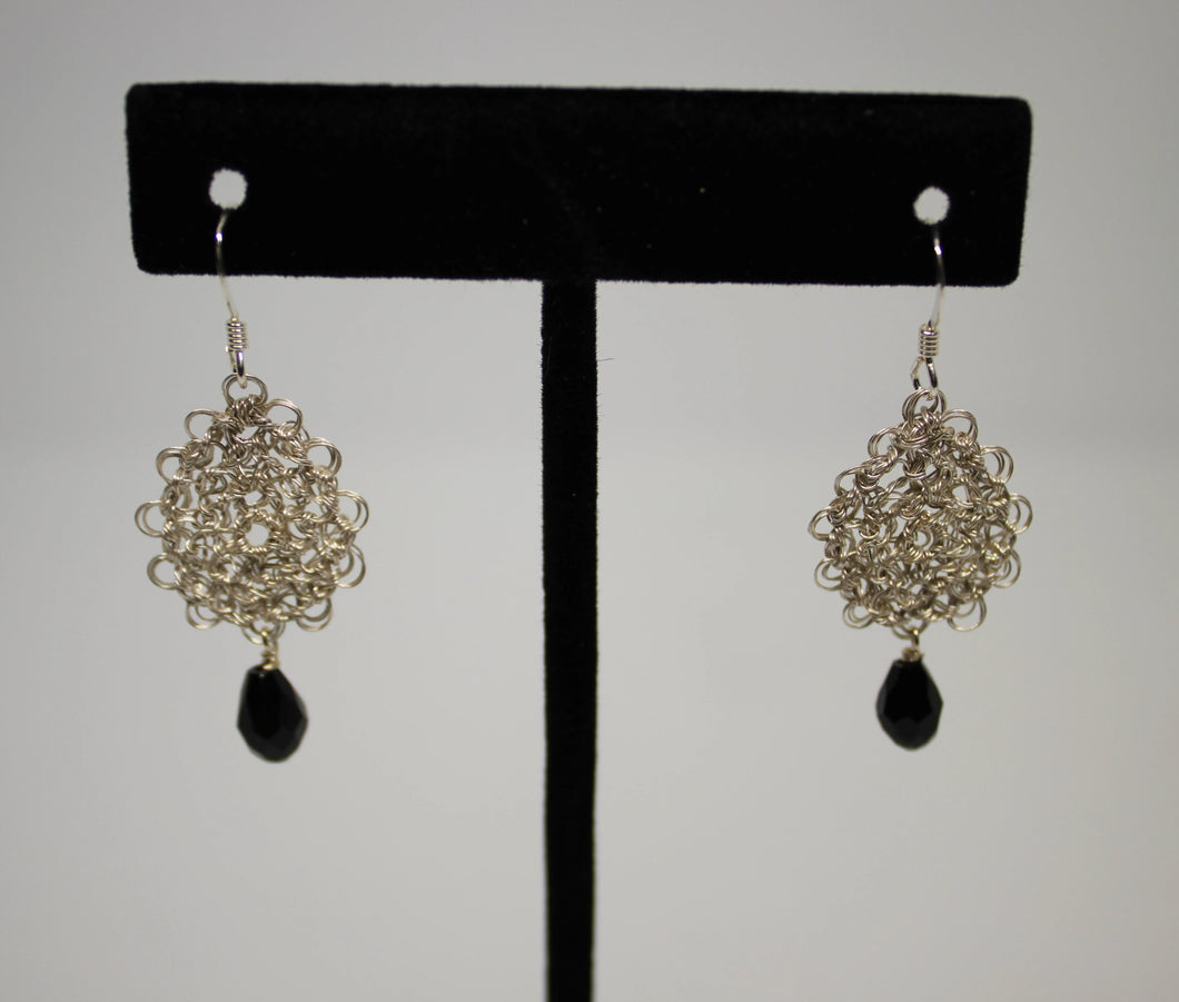 Silver Plated Wire Crocheted Drop Earrings