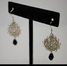 Load image into Gallery viewer, Silver Plated Wire Crocheted Drop Earrings