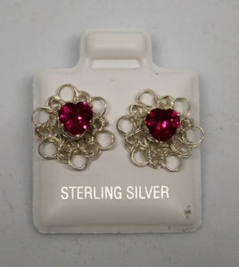 Sterling Silver Wire Crocheted Birthstone Earring Jacket Earrings