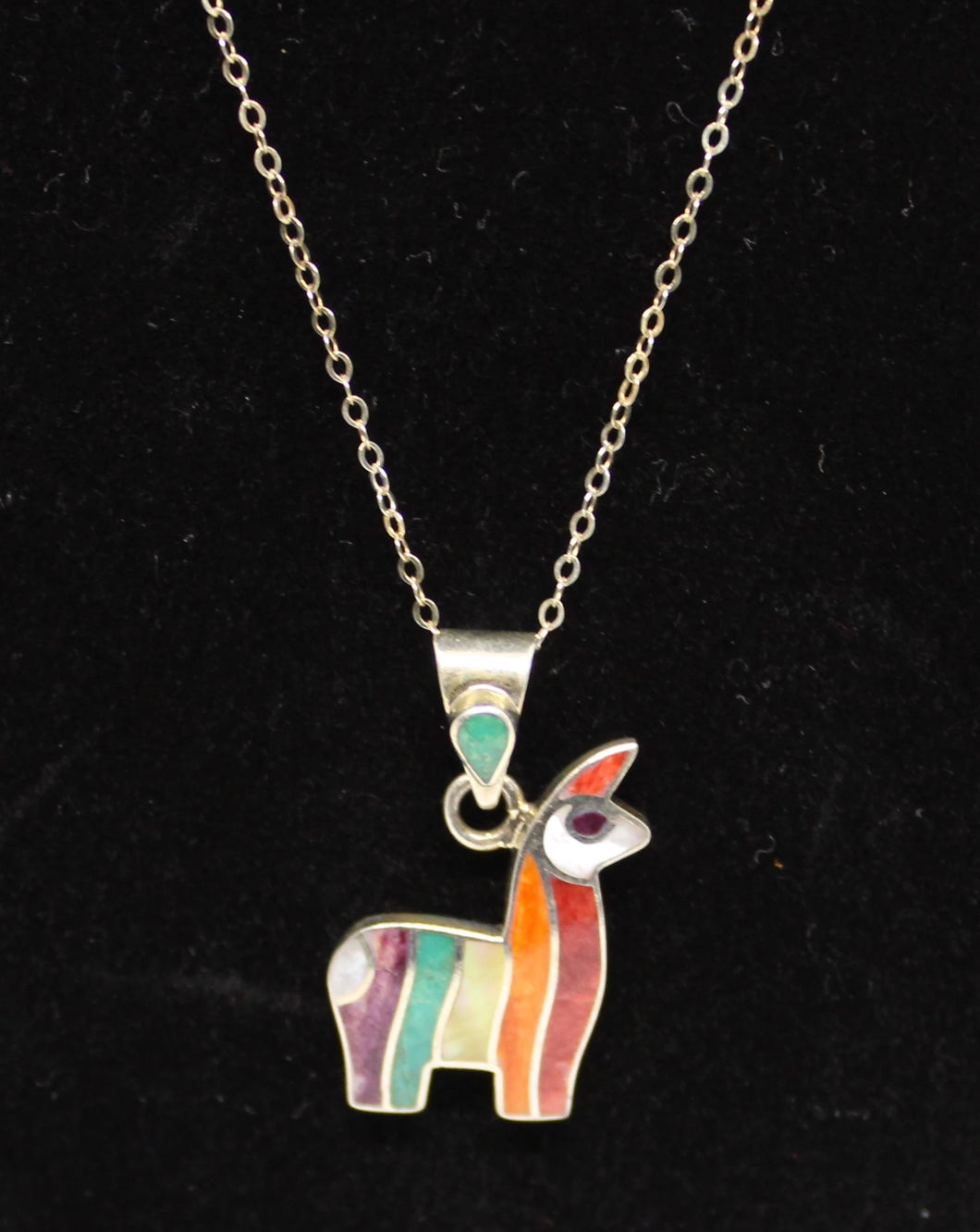 Peruvian Sterling Silver Inlaid Alpaca Necklace