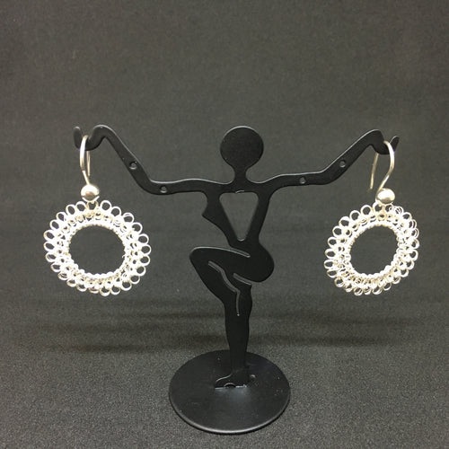 Hand-crocheted Sterling Silver Circular Earrings