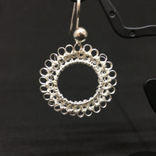 Load image into Gallery viewer, Hand-crocheted Sterling Silver Circular Earrings