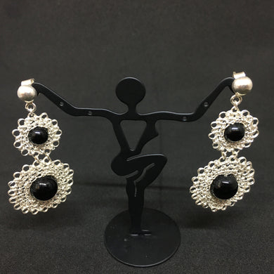 Hand-Crocheted Fine Silver Onyx Crocheted Earrings