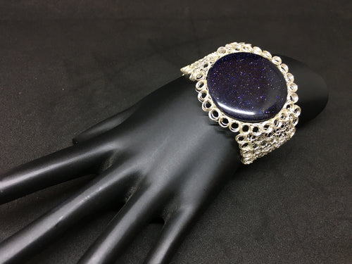 Sterling Silver Hand Crocheted Blue Goldstone Bracelet