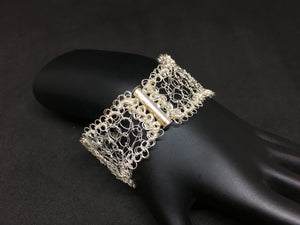 Sterling Silver Hand Crocheted Bracelet