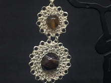 Load image into Gallery viewer, Sterling Silver w/ Semi-Precious Stones Wire Crocheted Earrings