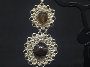 Sterling Silver w/ Semi-Precious Stones Wire Crocheted Earrings