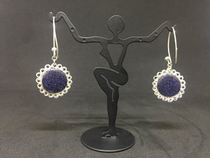 Hand-Crocheted Sterling Silver Sodalite Earrings
