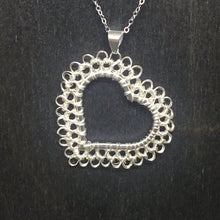Load image into Gallery viewer, Sterling Silver Wire Crocheted Heart Necklace