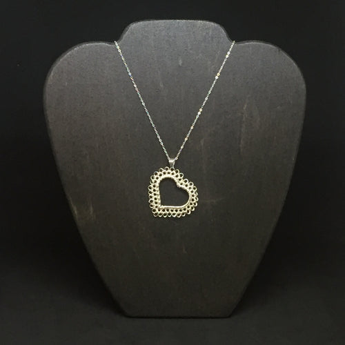 Sterling Silver Wire Crocheted Heart Necklace