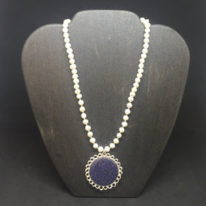 Sterling Silver Wire Crocheted Blue Goldstone Necklace