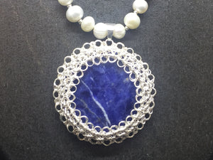 Sterling Silver Wire Crocheted Semi-Precious Stone Necklace
