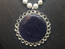 Load image into Gallery viewer, Sterling Silver Wire Crocheted Blue Goldstone Necklace