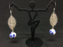 Load image into Gallery viewer, Hand-Crocheted Silver Plated Porcelain Bead Earrings
