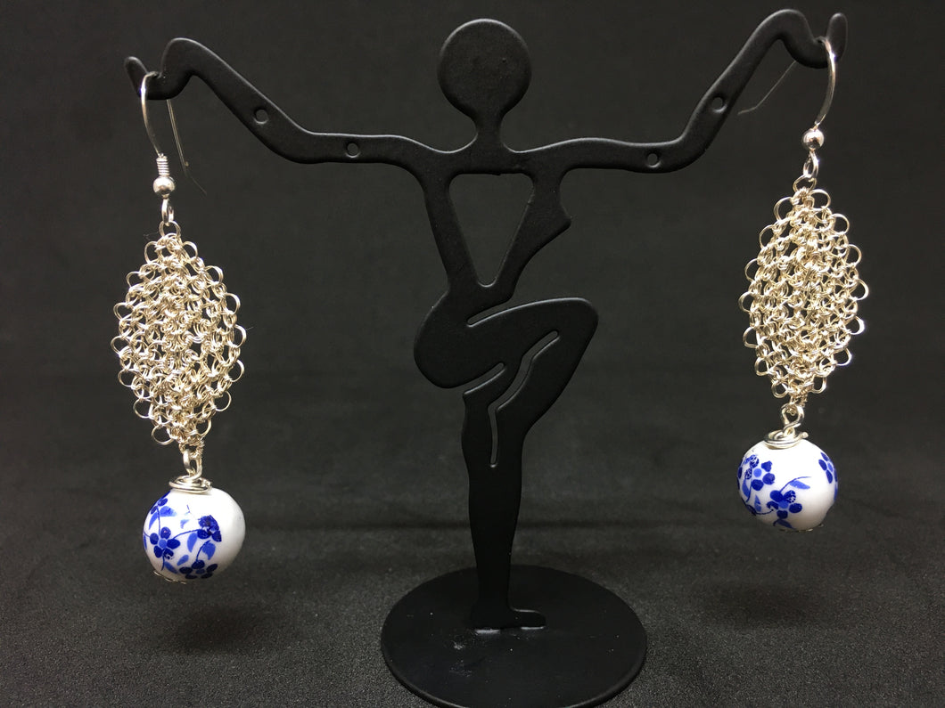 Hand-Crocheted Silver Plated Porcelain Bead Earrings