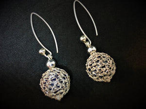 Hand-Crocheted 999 Fine Silver Glass Bead Earrings