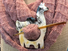 Load image into Gallery viewer, Bull's Horn Reversable Alpaca Reversible Brooch/Hair Pin
