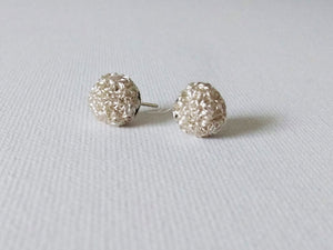 Silver Wire Wrapped Stud Earrings 8mm