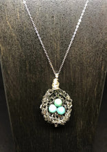 Load image into Gallery viewer, Magnesite Bugle Bead Bird Nest Necklace