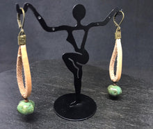 Load image into Gallery viewer, Leather and Magnesite Bead Earrings
