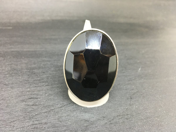 Black Onyx Adjustable Sterling Silver Ring