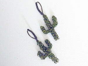 Wire Wrapped Green Cactus Earrings