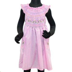 Hand Embroidered Pink Cotton Blend Dress