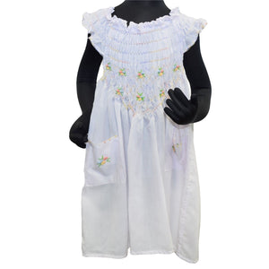 Hand Embroidered White Cotton Blend Dress