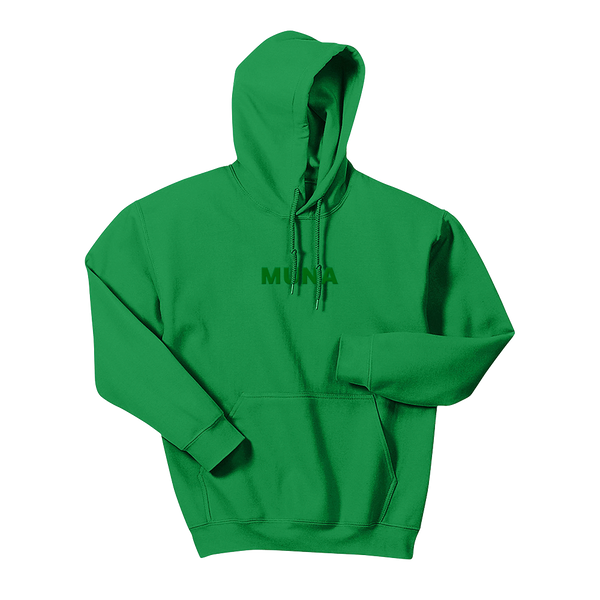 MUNA LOGO GREEN EMBROIDERED PULLOVER HOODIE