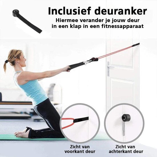 Thuis Fitness Elastiek Set - Full Body Workout Weerstandsbanden Set - Weerstandsbanden Elastiek Set - Fitness Elastiek Set