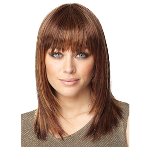 Silky Straight Brown Natural Synthetic Wig with Bangs 15 inch