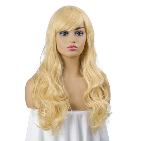 Natural Long Wavy Wig Light Blonde Hair for Women Synthetic Wig