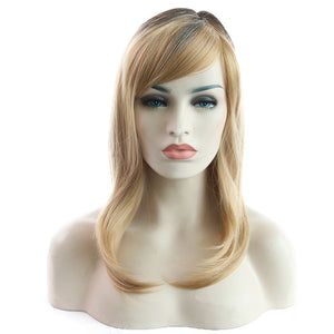 Synthetic Wig Natural wavy Hair Light Blonde Side Part Bangs Wig