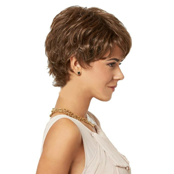 Brown Synthetic Wigs for Women Natural Looking Short Curly Wig