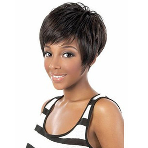 Short Straight Synthetic Wigs for Black Women Black Cute Wigs